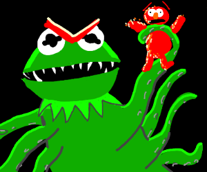Evil Kermit catches Elmo with his tentacles