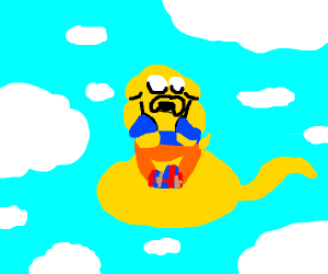 Jake the Dog on a cloud
