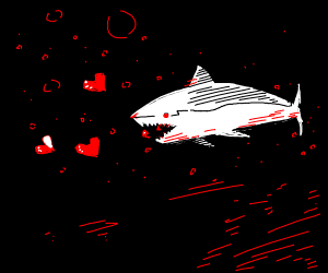 a shark eating hearts