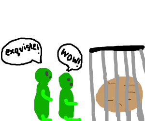 green lads looking at a potato in a cage