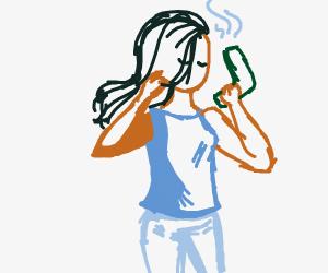 Woman blow drys her hair
