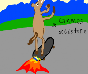 horse on skateboard on fire