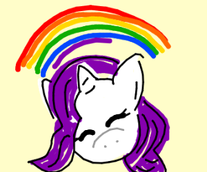 Rarity from mlp has rainbow over her