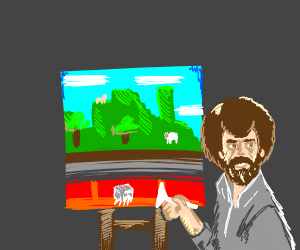 bob ross painting a minecraft scenery