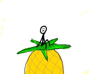 Sad stick figure sitting on a pineapple