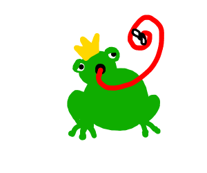 Frog King with tongue out