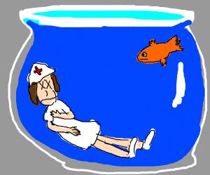 dead nurse in goldfish bowl