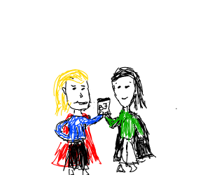 Loki and Thor share a Ben and Jerry's