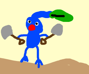 Blue Pikmin holding two shovels