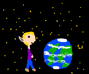Giant Space elf looking at earth