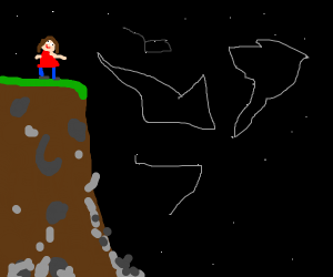 Girl looks at constellations on a cliff