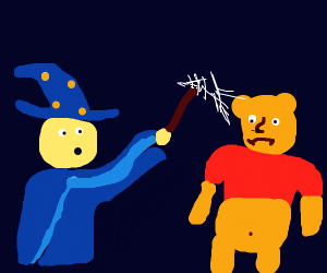 Wizard beating Winnie the Pooh