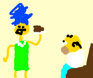 disformed marge simpson offers sh!t to homer