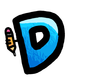 Drawception logo without legs & arm on curve