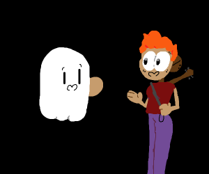 Ghost chatting to a rockband lady