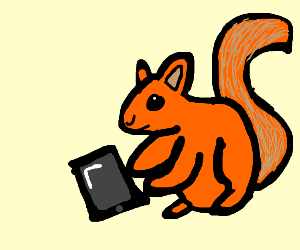 Squirrel with an iPad
