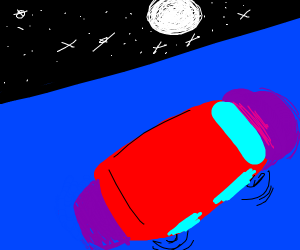 giant car driving on ocean with space view