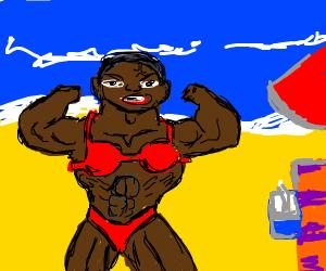 40 year old black man in bikini on beach.