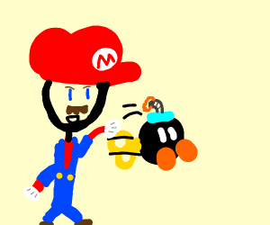 Mario throwing a Bob-Omb