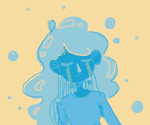 Sad girl with water for hair