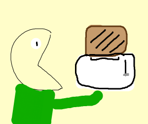 Man eats toaster