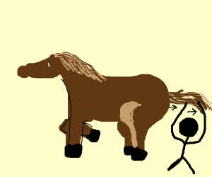Stickman pull horse's tail.