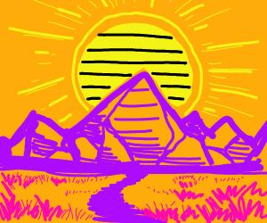 Black striped sun setting over purple mountai