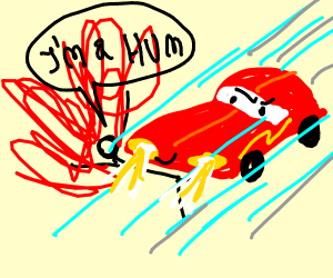 Lightning McQueen does a hit and run of a hum