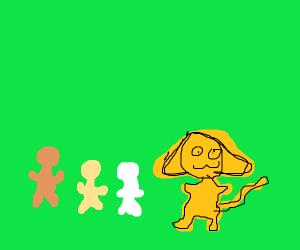 Children gather around a yellow cat