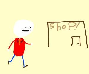 Guy goes to the shop in red suit