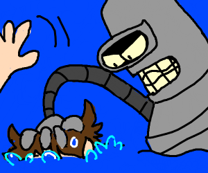 Bender drowns a man in the sea