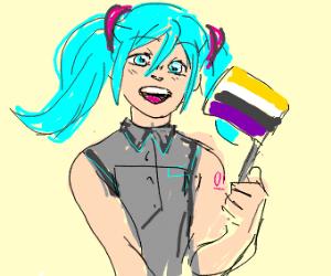 Miku expresses non-binary pride.