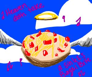 Bagel bite flying to heaven singing