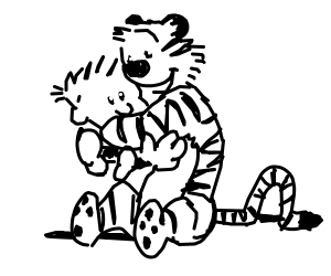 Calvin and hobbes hugging :3
