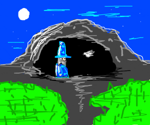 wizard with dove in cave