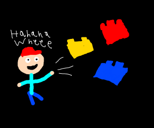 Kid throws primary collored blocks