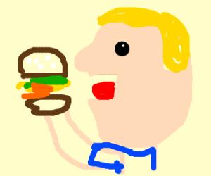 eating a hamburguer