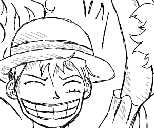 Luffy doesn't mind his face injury