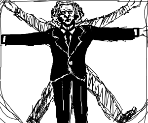 Vitruvian man wearing a suit.