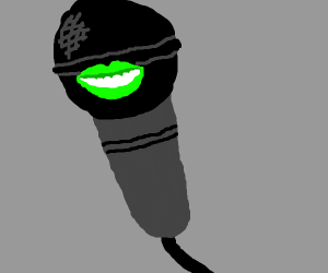 Microphone with Green Mouth