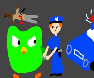 Duolingo owl arrested for hate crimes