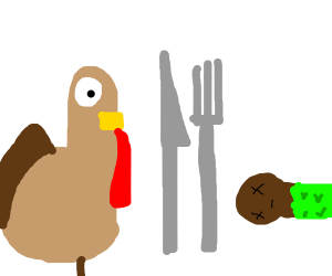 Turkeys eating people for thanks giving