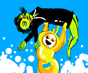 Yellow teletubbie holds the gorillaz