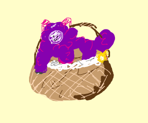 Purple sheep in a basket