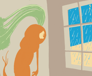Carrot is sad becouse outside is raining