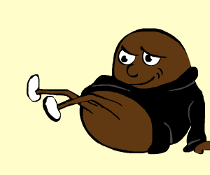 potato wearing black looks at legs