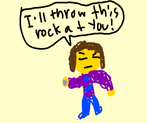 frisk threatens to throw a rock at you