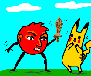 Red head fighting picachu