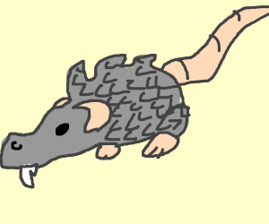 A grey rat with a crocodile snout and scales