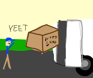 Throwing the package into the van